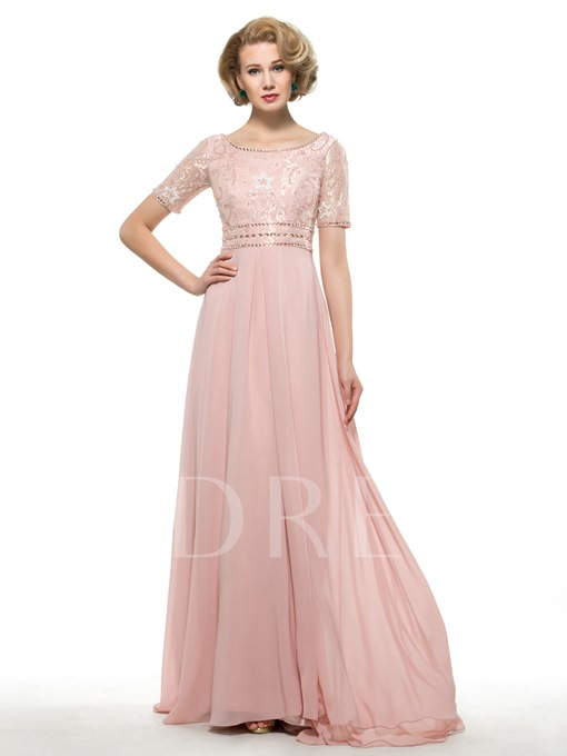 Short Sleeves Beading Lace Chiffon Long Mother of the Bride/Groom Dress