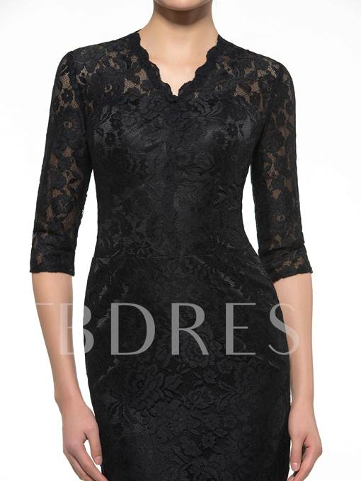 Black Half Sleeve Lace Short Mother of the Bride Dress