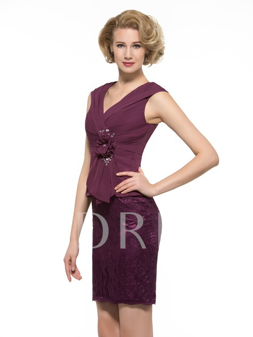 Modest Lace Chiffon Short Mother of the Bride / Groom Dress
