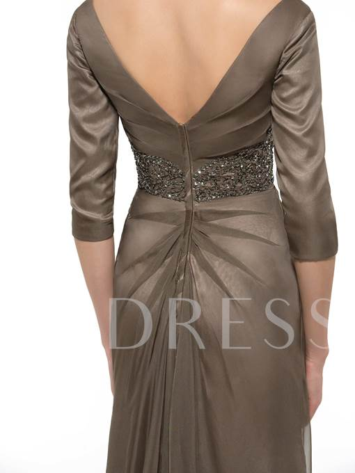 V-Neck Sequins 3/4 Length Sleeve Floor-Length Mother of the Bride Dress