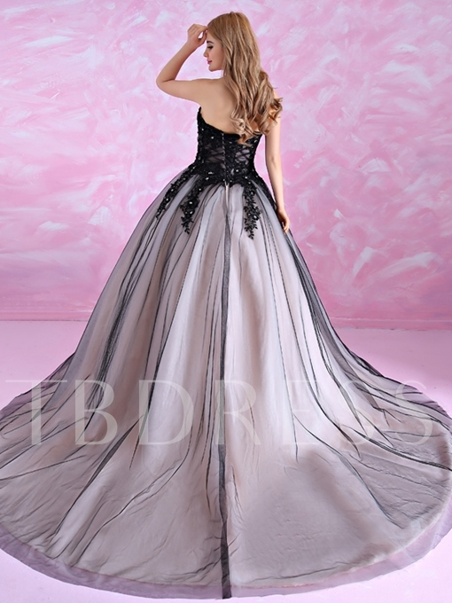 Sweetheart Appliques Sequins Long Ball Gown