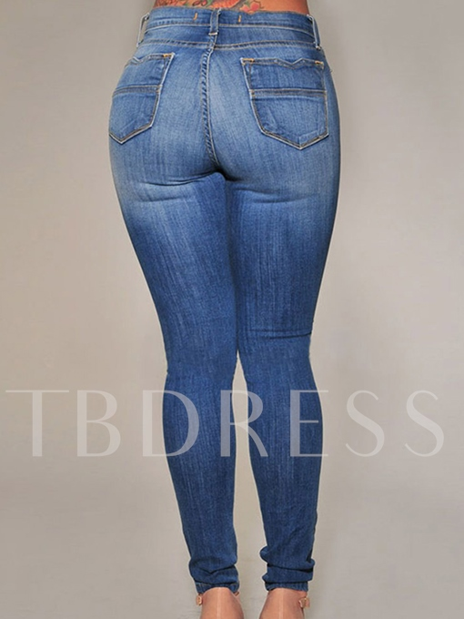 Worn-Out Gradient Color Women's Jeans