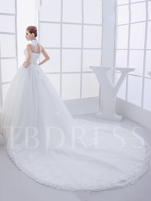 High Neck Appliques A-Line Beading Bowknot Chapel Wedding Dress