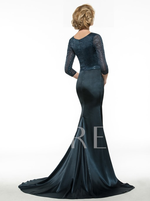 Sleeves Sequined Trumpet Mother of Bride Dress