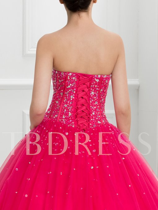 Sweetheart Ball Gown Beaded Lace-Up Long Quinceanera Dress