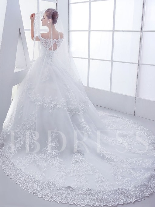 Off-The-Shoulder Lace Chapel Ball Gown Wedding Dress