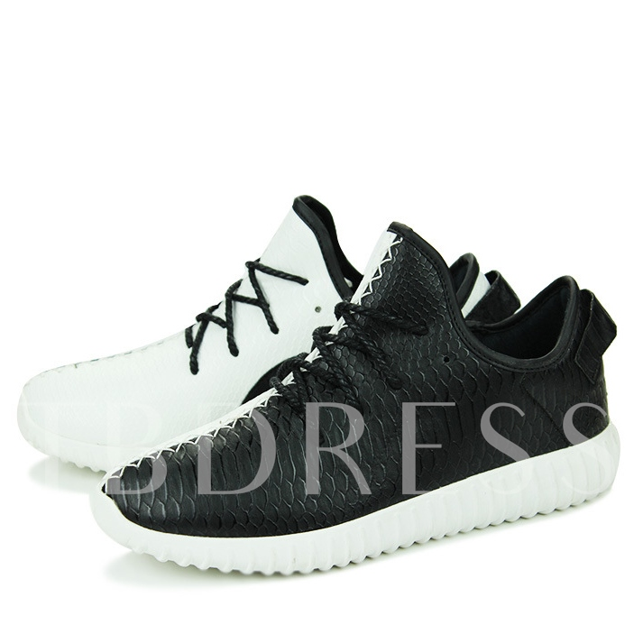 Color Block Round Toe Lace-Up Front Low-Cut Upper Men's Sneakers