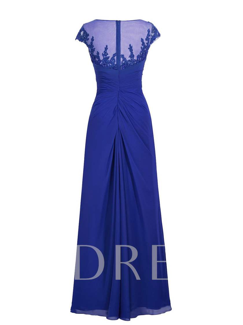 A-Line Cap Sleeve Appliques Beading Floor-Length Mother Dress
