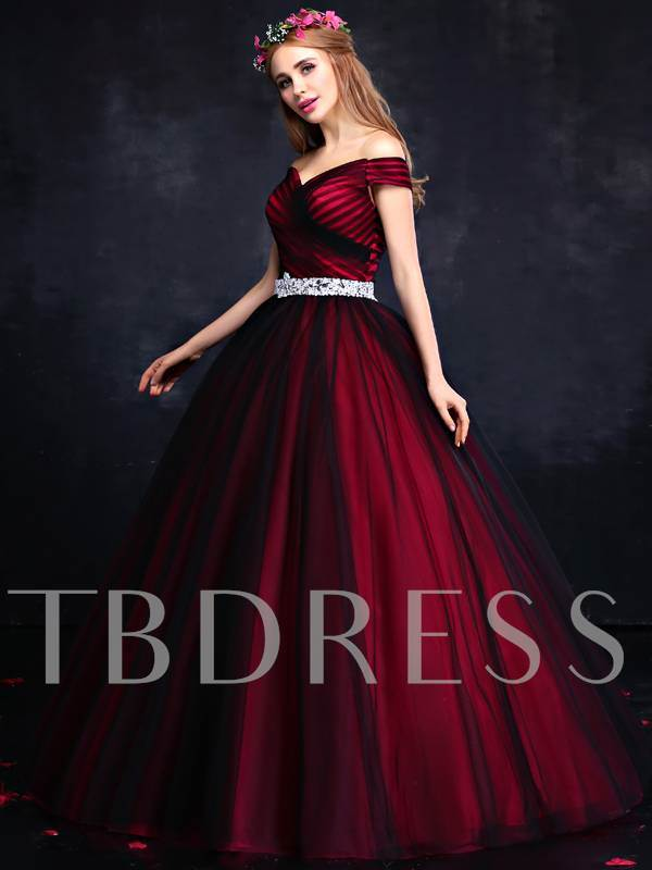 Off-the-Shoulder Rhinestone Ruched Quinceanera Dress