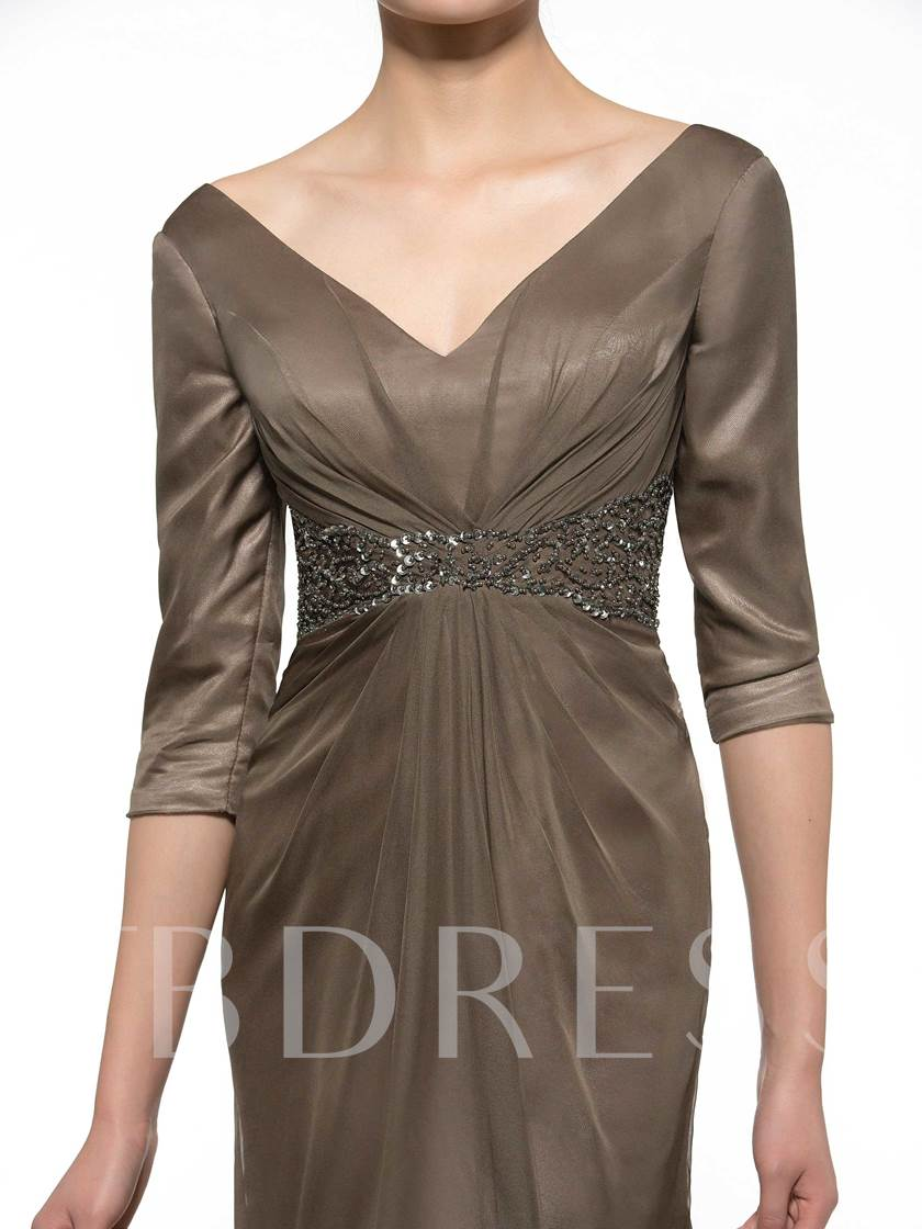 Sequins Beading Mother of the Bride Dress with Sleeves