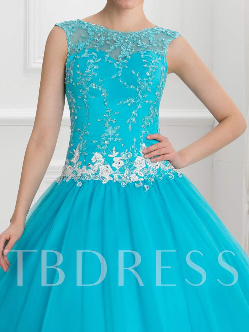 Sheer Neck Appliques Sequins Long Ball Gown