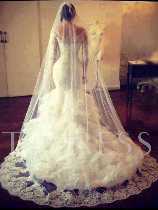 Cascading Ruffles Lace Mermaid Wedding Dress with Long Sleeve