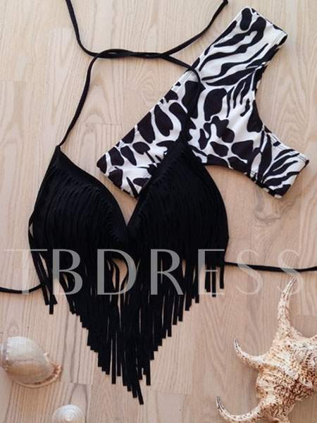 Fringed Triangle Top Cow Print Bottom Bikini Swimwear
