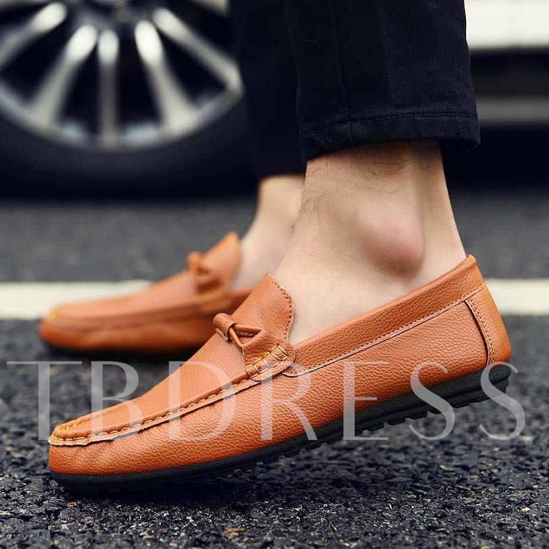 Slip-On Flat Heel Bowtie Low-Cut Upper Men's Loafers