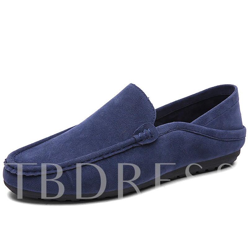 Round Toe Flat Heel Slip-On Plain Men's Loafers