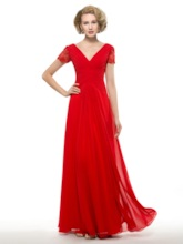 V-Neck Empire Waist Pleats Composite Silk Mother of the Bride Dress
