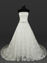 Strapless Beading Lace Plus Size Wedding Dress