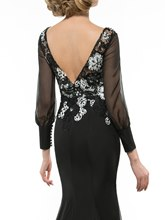 Lace Long Sleeve V Backless Trumpet/Mermaid Mother of the Bride Dress