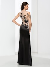 Sequins Appliques Sheath Black Evening Dress