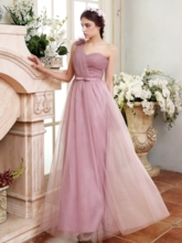 One Shoulder Bowknot Long Bridesmaid Dress