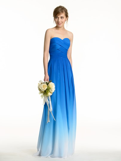 Fading Color Sweetheart Long Pleated Bridesmaid Dress