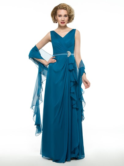 30D Chiffon V-Neck Draped Floor-Length Mother of the Groom Dress