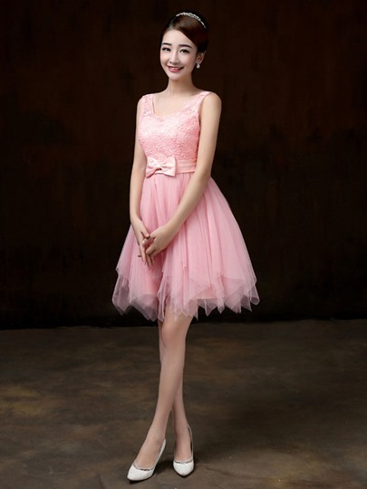 Scoop Neck Bow Knot Knee-Length Bridesmaid Dress