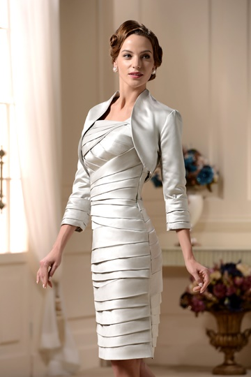Pleated Column Short Mother of the Bride Dress With Jacket