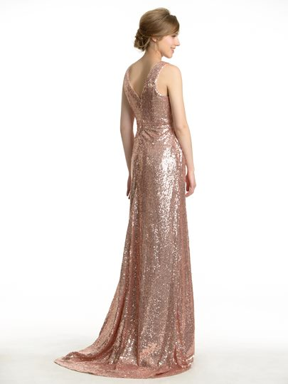 Sexy V-Neck Floor-Length Sequins Pregnant Bridesmaid Dress