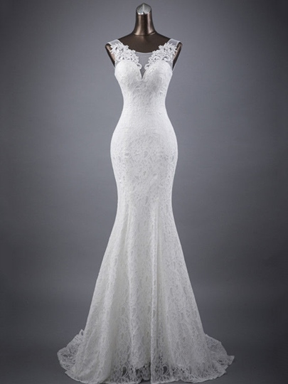 Scoop Neck Appliques Lace Mermaid Wedding Dress