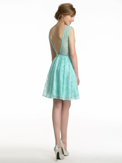 Mini Backless A-Line Lace Short Bridesmaid Dress