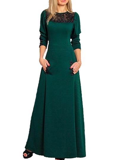 Green Color Block Long Sleeve Lace Women's Maxi Dress
