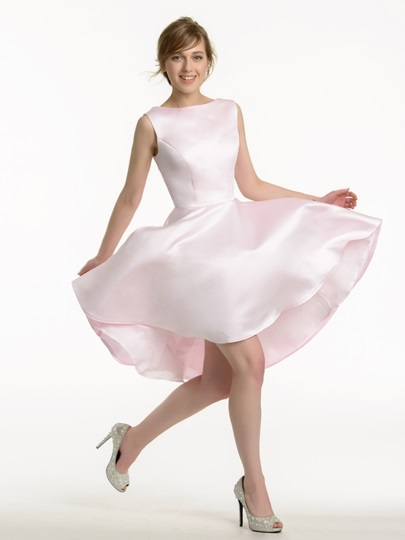 A-Line Asymmetry Short Matte Satin Bridesmaid Dress