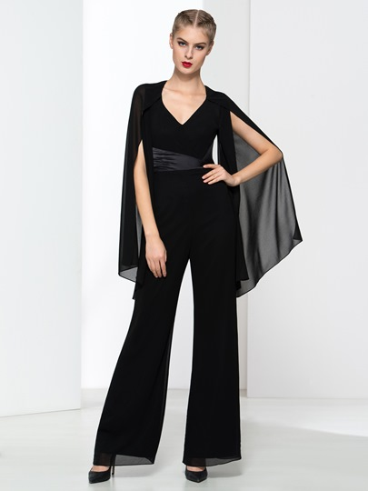 V-Neck Open Back Slim Evening Jumpsuits