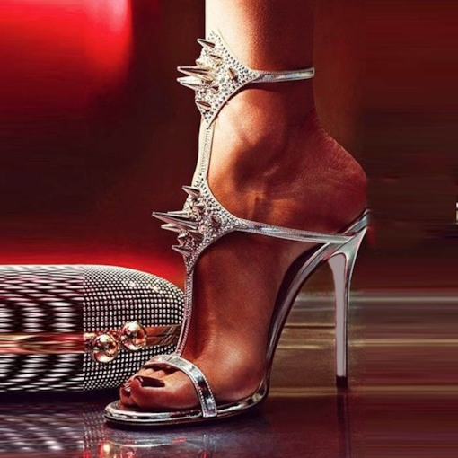 Open Toe Stiletto Heel Rivet Women's Sandals