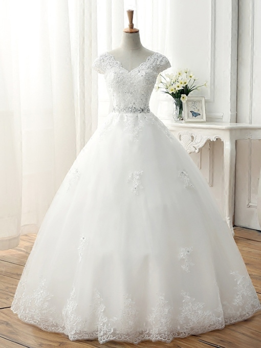 V-Neck Appliques Lace Rhinestone Ball Gown Wedding Dress