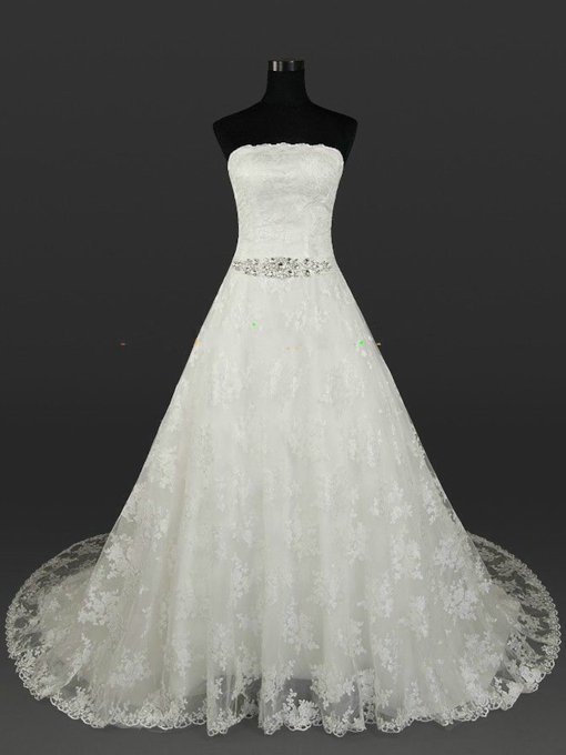 Strapless Lace A-Line Beading Plus Size Wedding Dress
