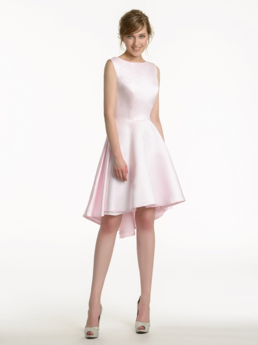 Straps High Low Matte Satin Pink Bridesmaid Dress