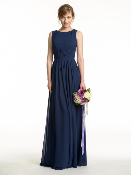 Keyhole Back A-Line Pleats Long Bridesmaid Dress