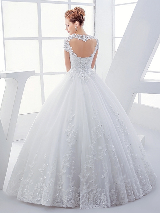 Heart Keyhole Back Appliques Ball Gown Wedding Dress