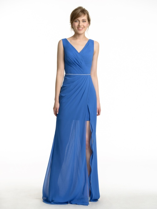 Split-Front V-Neck Pleats Long Bridesmaid Dress