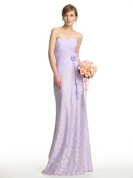 Designer Sweetheart Floor-Length Lace Bridesmaid Dress