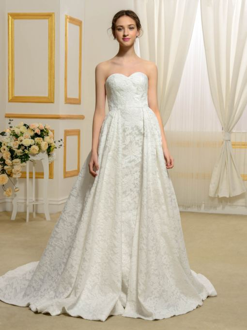 Sweetheart Floral Lace Matte Satin Court Train A-Line Wedding Dress