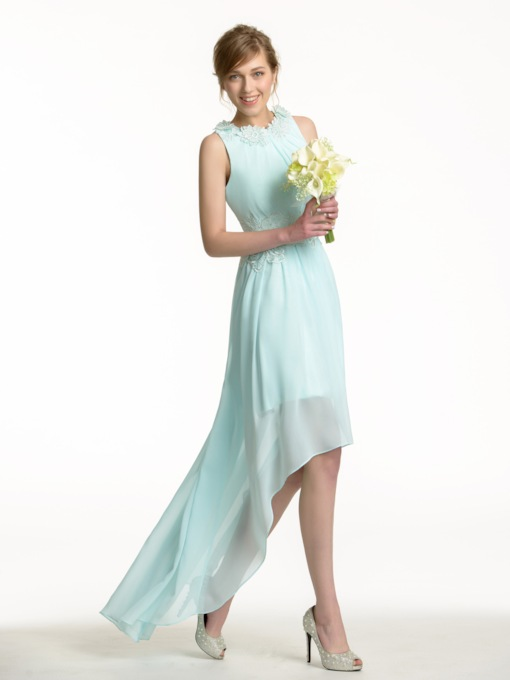 Asymmetry High-Low Chiffon Flowers Bridesmaid Dress