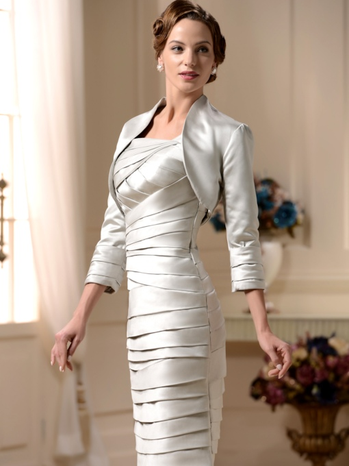 Pleated Column Mother of the Bride Dress With Jacket