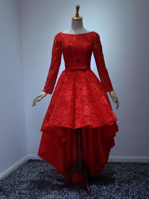 Long Sleeves Lace Bow High Low Red Prom Dress