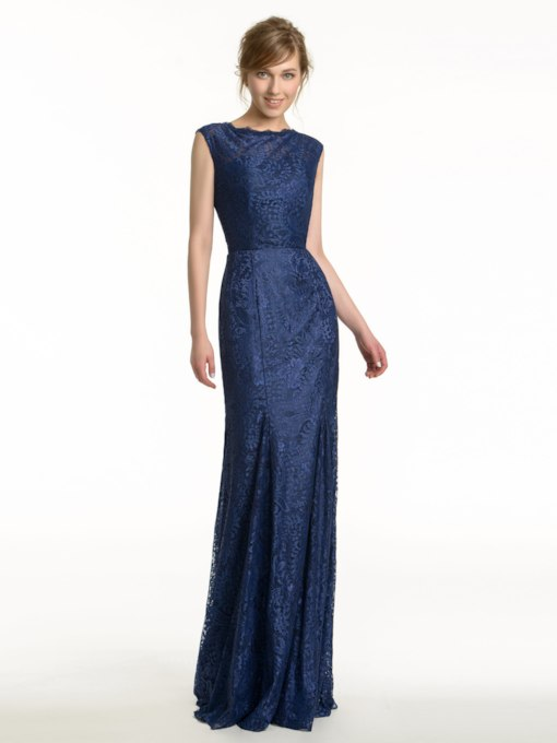 Keyhole Back Floor-Length Sleeveless Lace Bridesmaid Dress