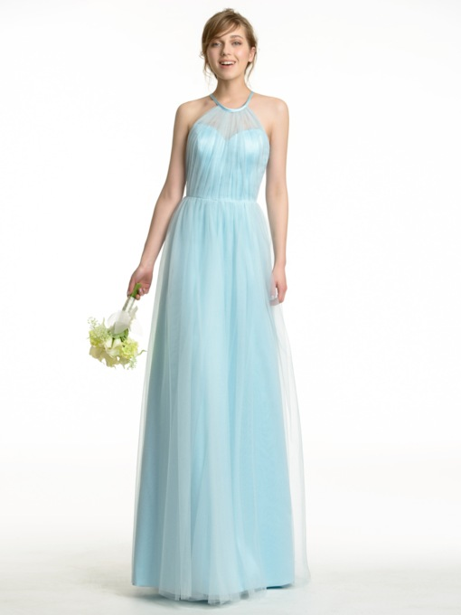 Halter A-Line Tulle Long Bridesmaid Dress