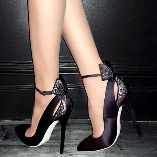 Line-Style Buckle Bow Stiletto Heel Pointed Toe Prom Shoes