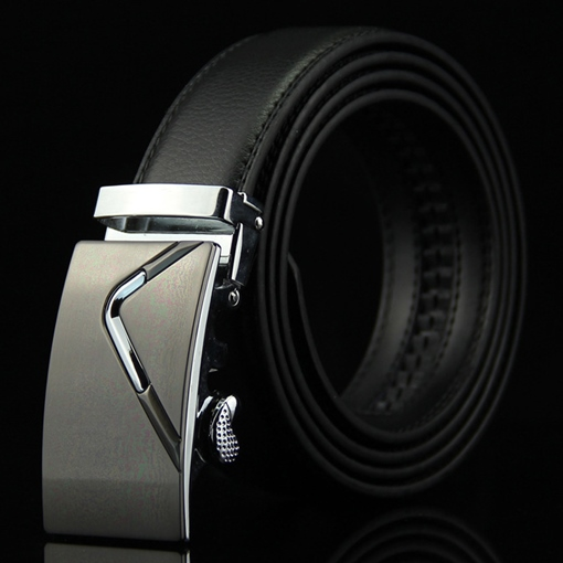 Deluxe Smooth Buckle Artificial Leather Men's Belt